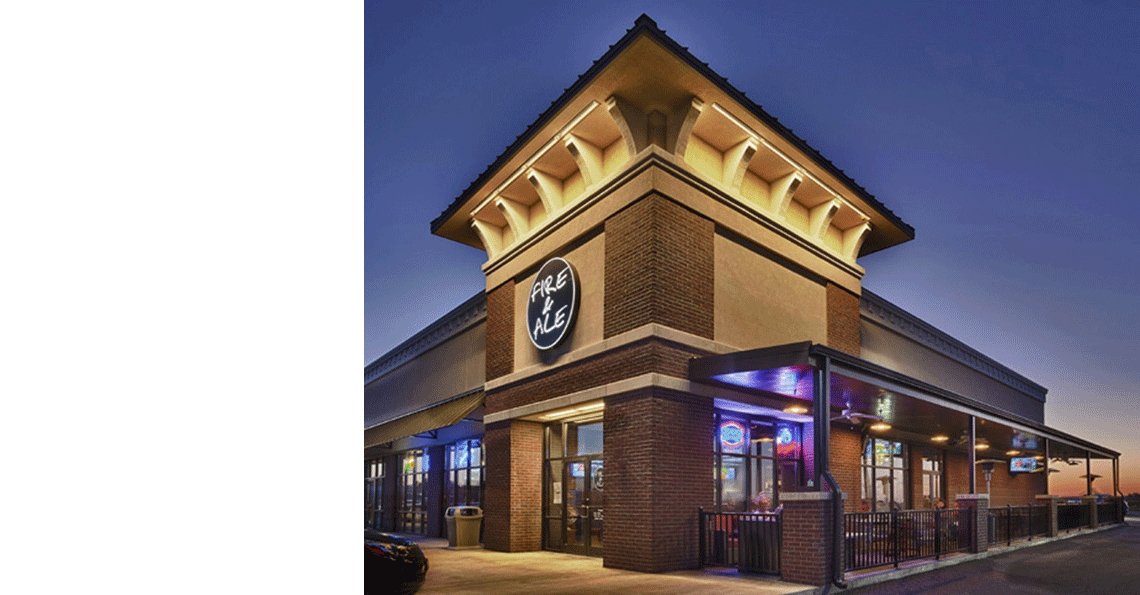 Evan Lloyd Architects provided restaurant architecture services for Fire & Ale, a new restaurant in Sherman, Illinois.