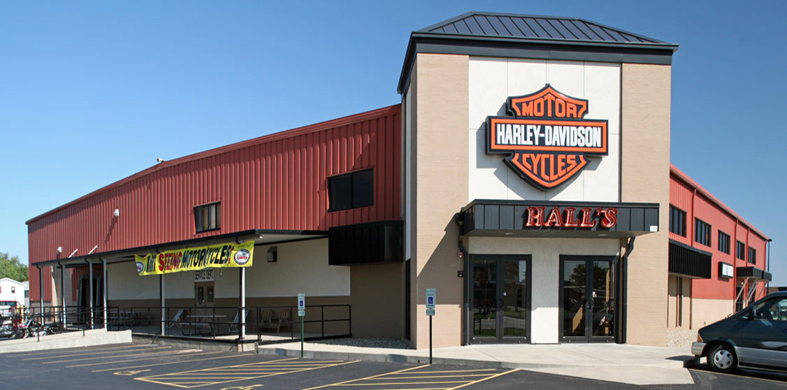 Evan Lloyd Architects provided retail architectural services for Halls Harley Davidson in Springfield, Illinois, with a building renovation from industrial facility to a retail area.