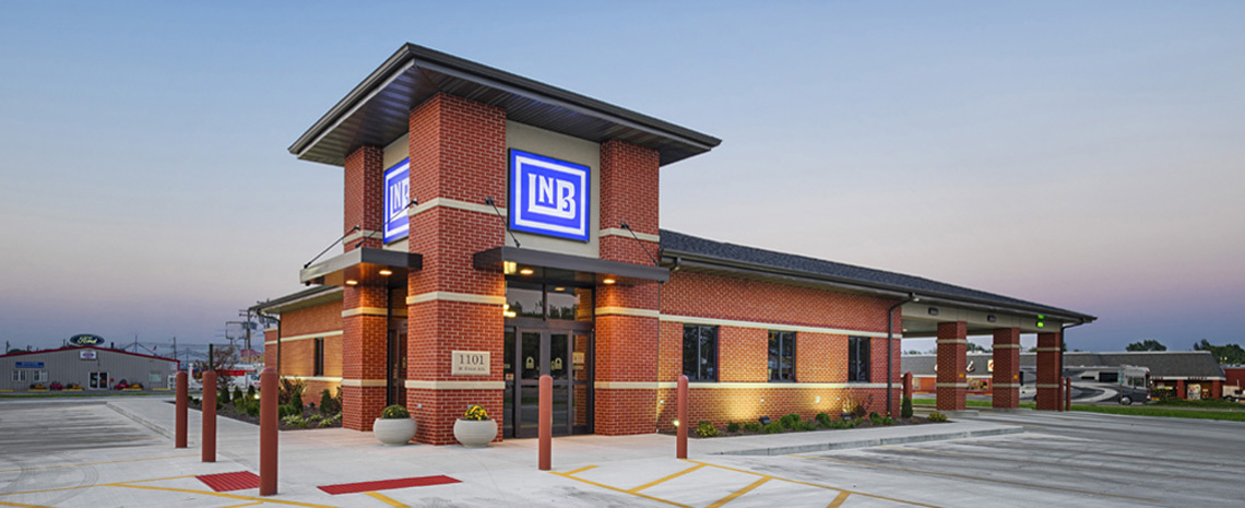 Evan Lloyd Architects provided financial architectural services for Litchfield National Bank in Litchfield, Illinois, designing a new bank.