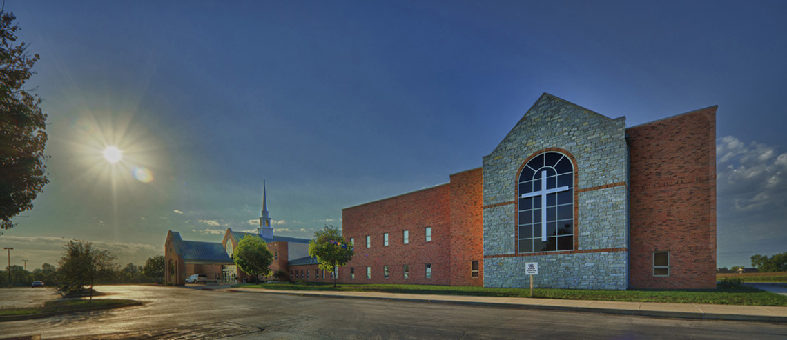 Evan Lloyd Architects provided religious architectural services for First Baptist Church of Maryville in Maryville, Illinois.
