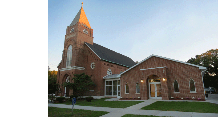 Evan Lloyd Architects provided religious architectural services for St. Luke's Parish in Virginia, Illinois, with a facility expansion and renovation.