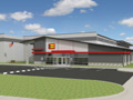Evan Lloyd Architects - industrial architectural services - Altorfer Caterpillar (CAT) in Springfield, Illinois - artist's rendering of the front.