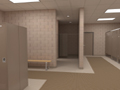 Evan Lloyd Architects - rendering of a restroom at Woodword Athletic Facility at Blackburn College in Carlinville, Illinois.