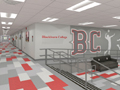 Evan Lloyd Architects - artist's rendering of the lobby at Woodword Athletic Facility at Blackburn College in Carlinville, Illinois.