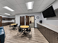 Evan Lloyd Architects completed office architectural services for Springfield Urban Redevelopment Project in Springfield, Illinois - break room of the Centre at 501 - Office Architecture.