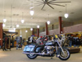Evan Lloyd Architects - Halls Harley Davidson in Springfield, Illinois - interior of the renovated building, which is now a sales floor for motorcycles.