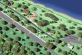 Evan Lloyd Architects - Lincoln's New Salem State Historic Site in Menard County, Illinois - artist's rendering. We developed a site design which minimized regrading and allowed for the existing natural vegetation and drainage to the river to remain.