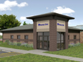 Evan Lloyd Architects provided healthcare architectural services - Ramsey Clinic, Pana Community Hospital, and Durable Med in Ramsey and Pana, Illinois - artist's rendering.
