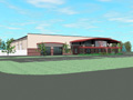 Evan Lloyd Architects - Springfield Collision Center in Springfield, Illinois - new repair facility exterior artistic render, alternative view.